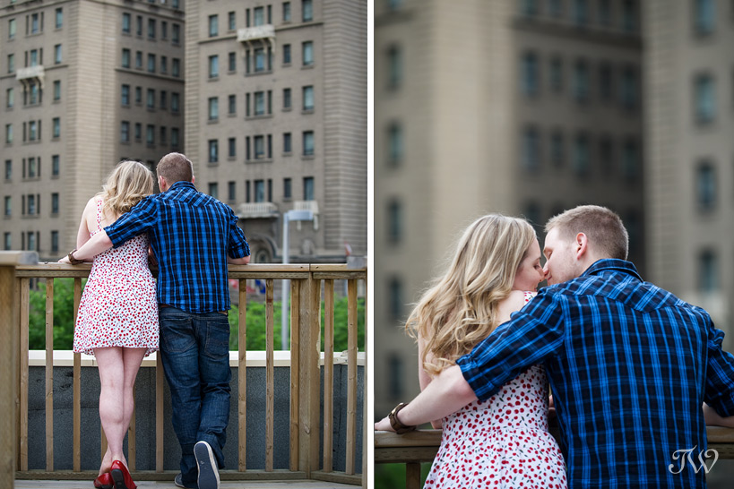 Rooftop-movie-Calgary-engagement-session-couple-on-roof