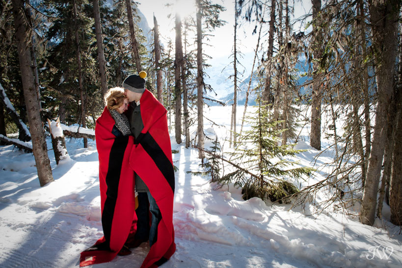 lake-louise-engagement-pictures-hudson-bay-blanket-11