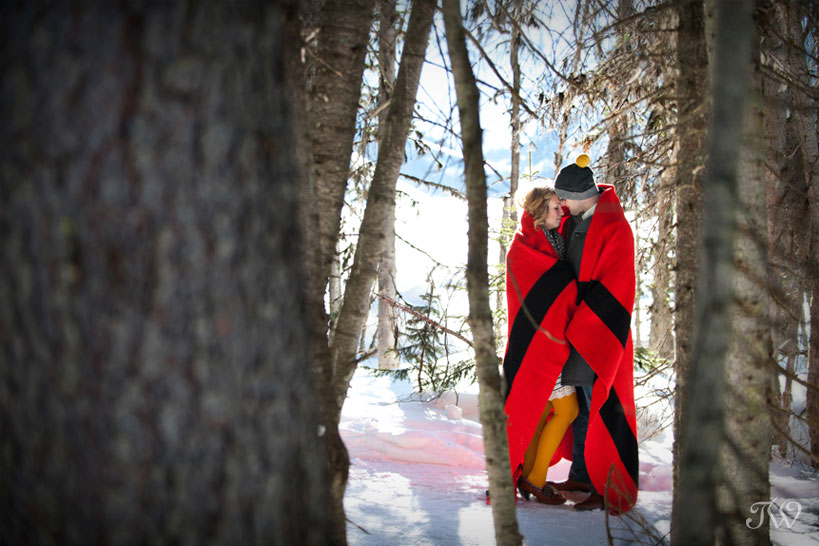 lake-louise-engagement-pictures-hudson-bay-blanket-13