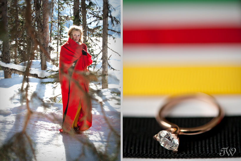 lake-louise-engagement-pictures-hudson-bay-blanket-18