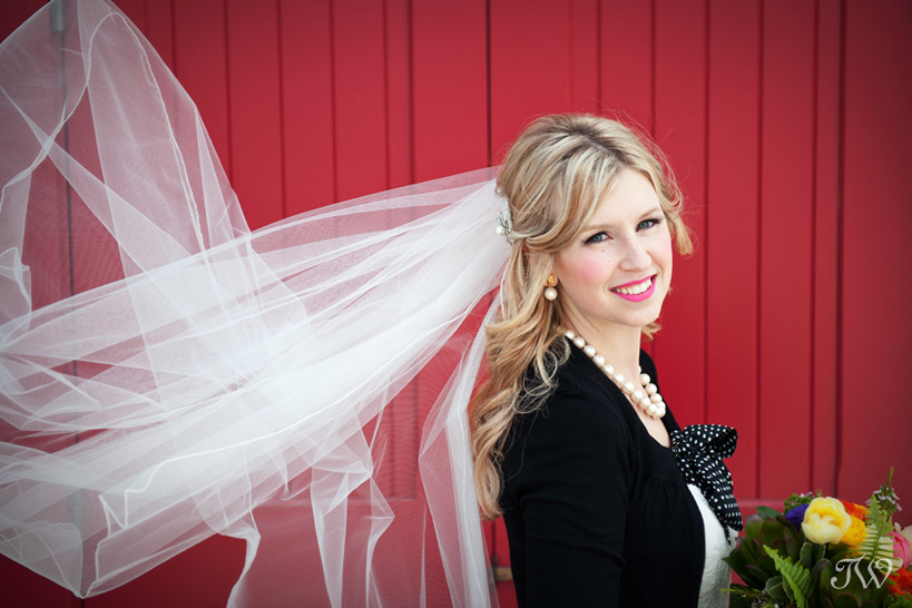 bridal veil blowing in the wind by Calgary wedding photographer Tara Whittaker
