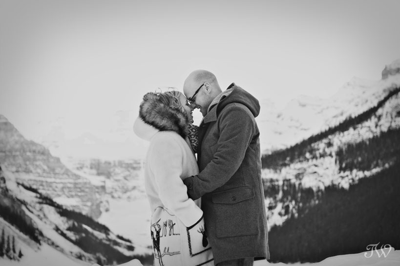 couple at Lake Louise in winter by Tara Whittaker Photography