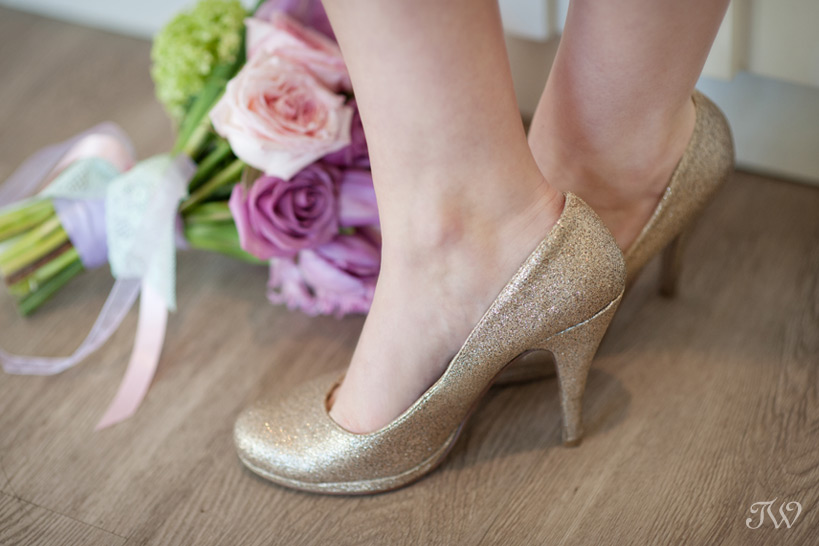 sparkly wedding shoes in gold photographed by Tara Whittaker