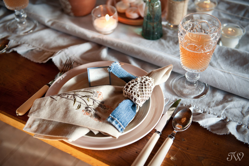 placesetting at a Calgary Stampede party captured by Tara Whittaker Photography