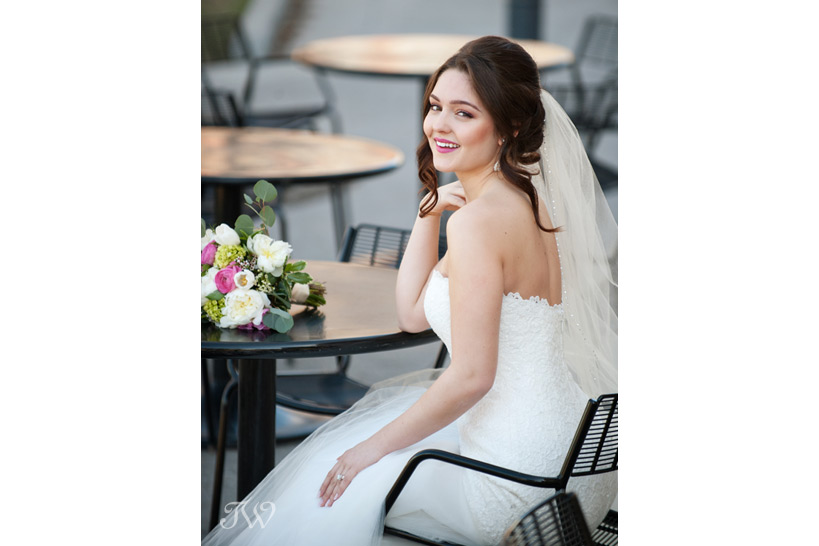 bride seated in a bistro
