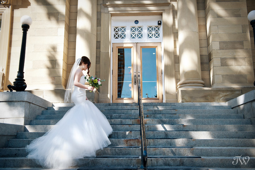 bride on a grand staircase