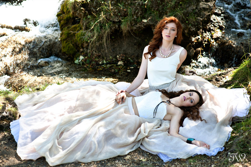 two brides wearing Carol Hannah bridal gowns captured by Tara Whittaker Photography
