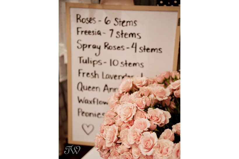 pale pink roses at a flower arranging class