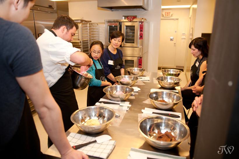 Chef at Ollia teaching the art of macarons
