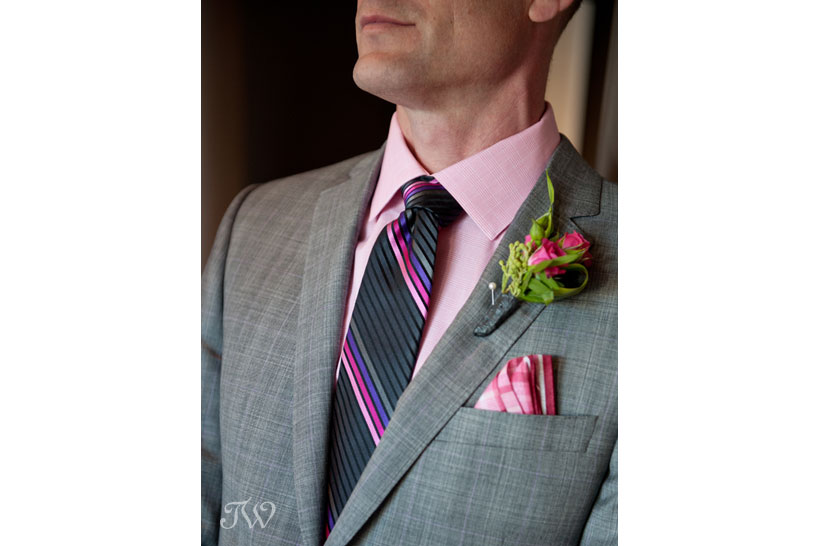 Pink rose boutonniere captured by Tara Whittaker Photography