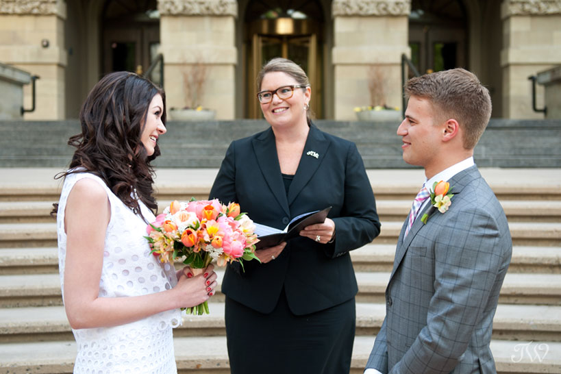bride and groom say I do in a Calgary elopement