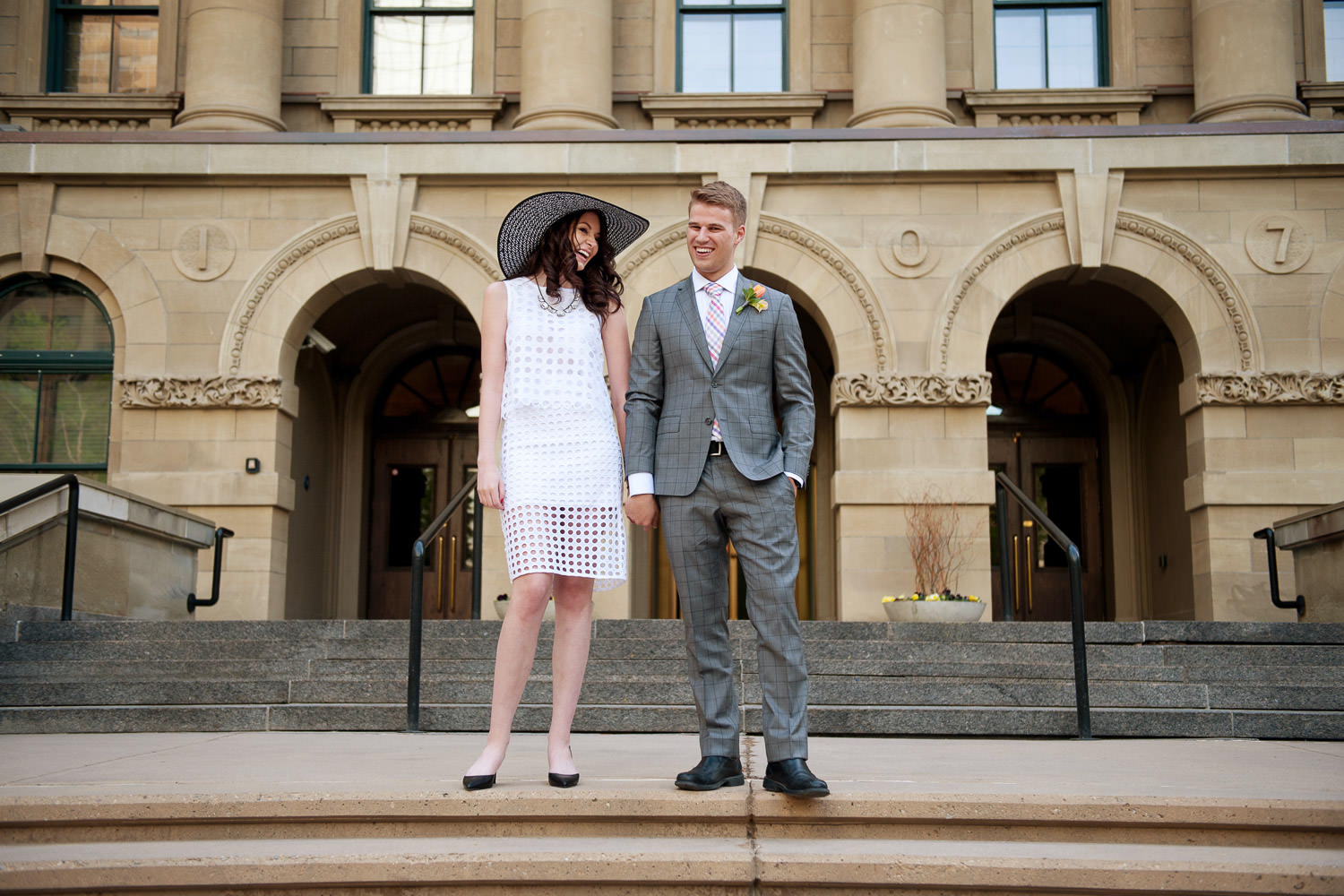 bride and groom at their Calgary elopement at McDougall Centre captured by Tara Whittaker Photography