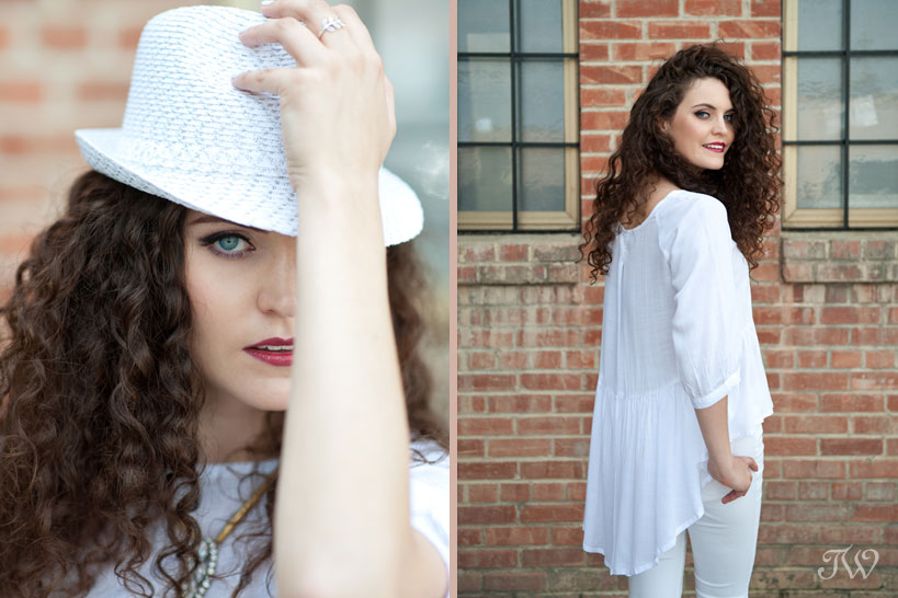 model wearing a white fedora captured by Tara Whittaker Photography