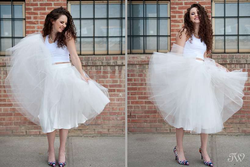 Model dancing in a white tulle skirt captured by Tara Whittaker Photography