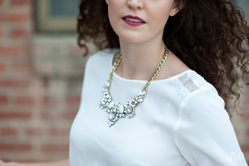 white statement necklace captured by Tara Whittaker Photography