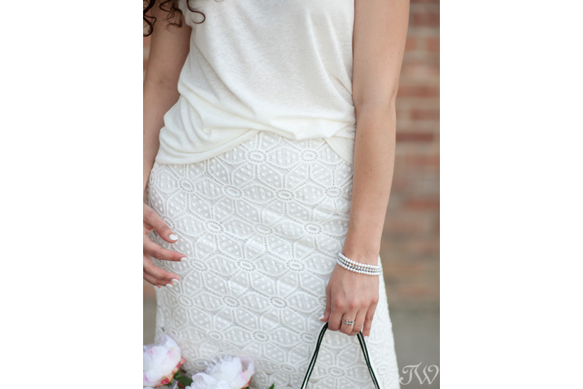 white lace pencil skirt captured by Tara Whittaker Photography