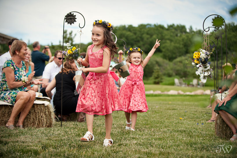 flower girls dancing captured by Tara Whittaker Photography