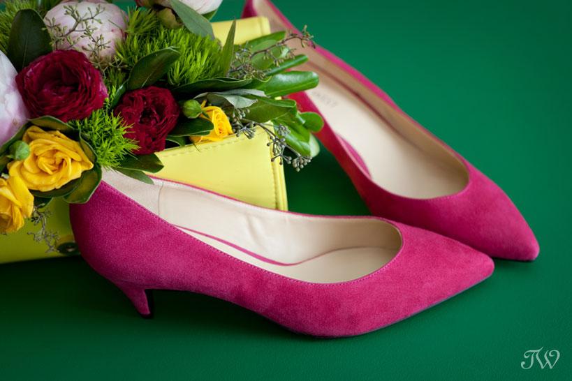pink kitten heels for brides captured by Tara Whittaker Photography