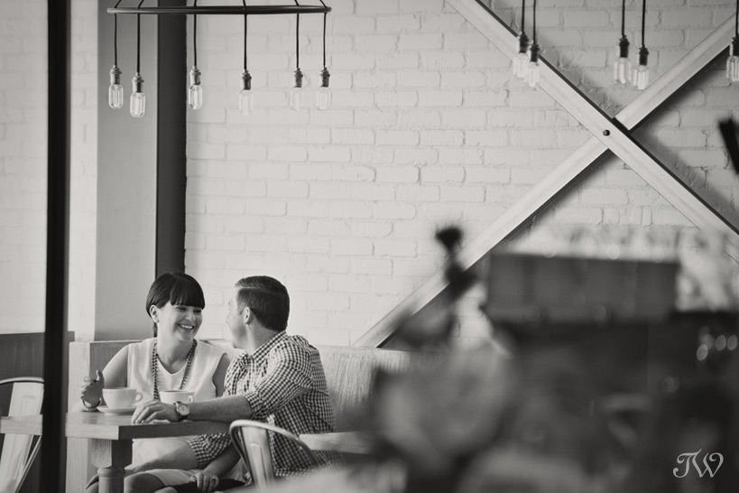 couple in a coffee shop captured by Tara Whittaker Photography