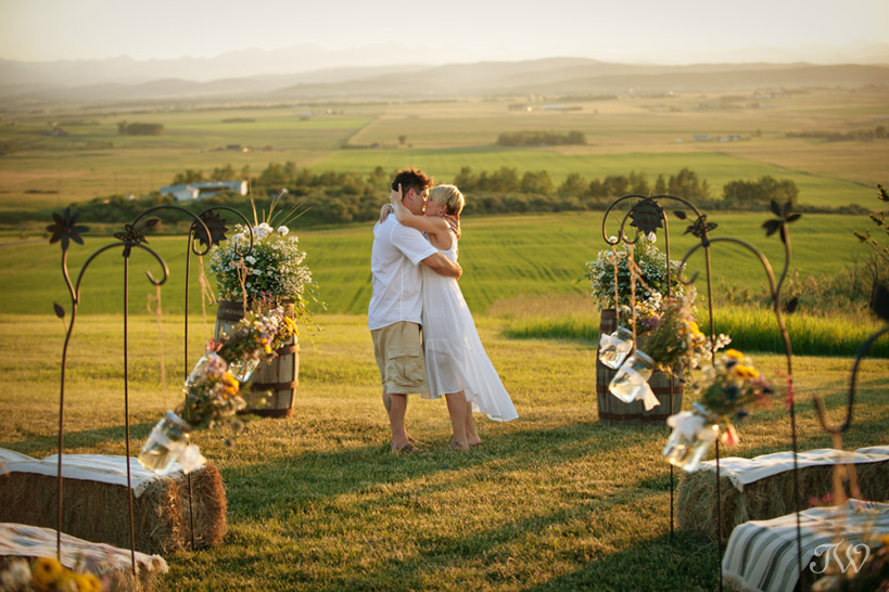bride and groom photographed during the golden hour by Tara Whittaker