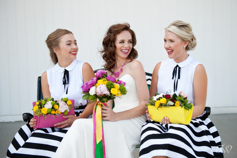 bridesmaids in party skirts captured by Tara Whittaker Photography