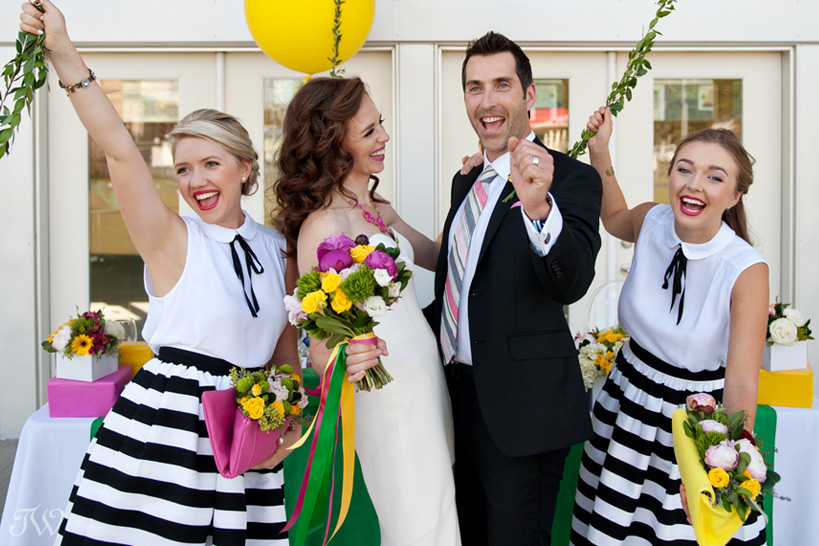bridal party celebrating captured by Tara Whittaker Photography