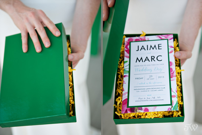 colourful boxed wedding invitation by Modern Pulp captured by Tara Whittaker Photography