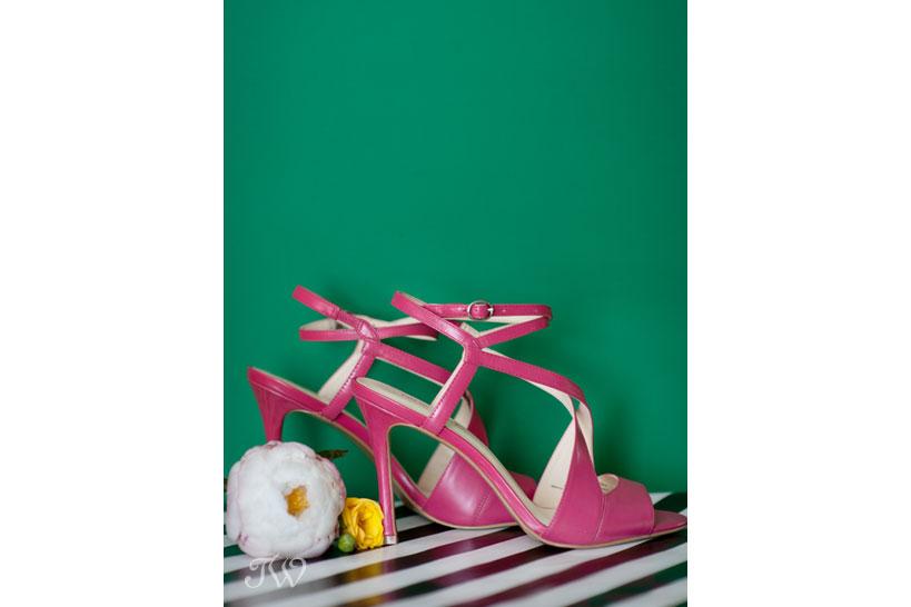 pink wedding sandals worn by a preppy bride captured by Tara Whittaker Photography
