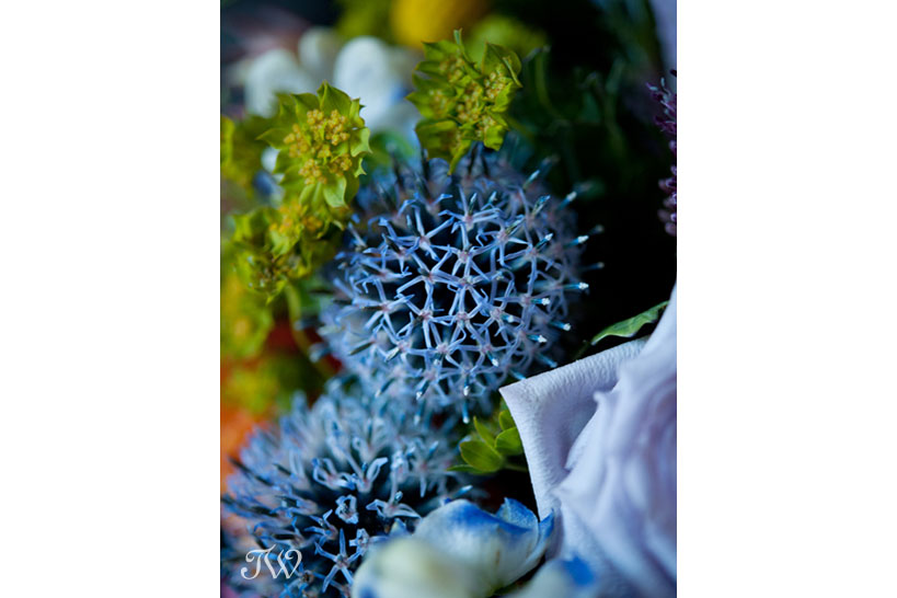 Echinops in a bridal bouquet created by Flowers by Janie, captured by Tara Whittaker Photography