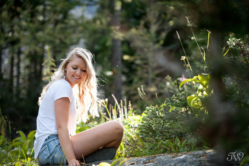 backlit portrait at Lake Agnes captured by Tara Whittaker Photography