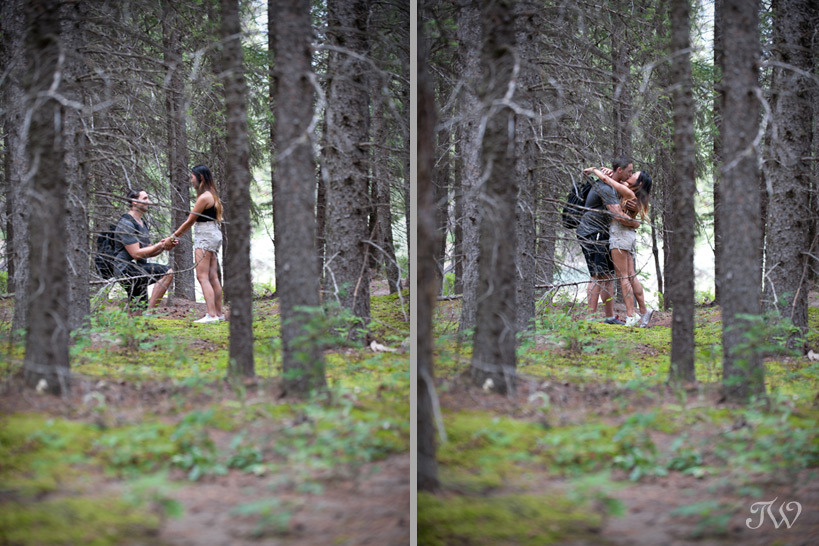 Brian proposes to Clarianne in Banff captured by Tara Whittaker Photography