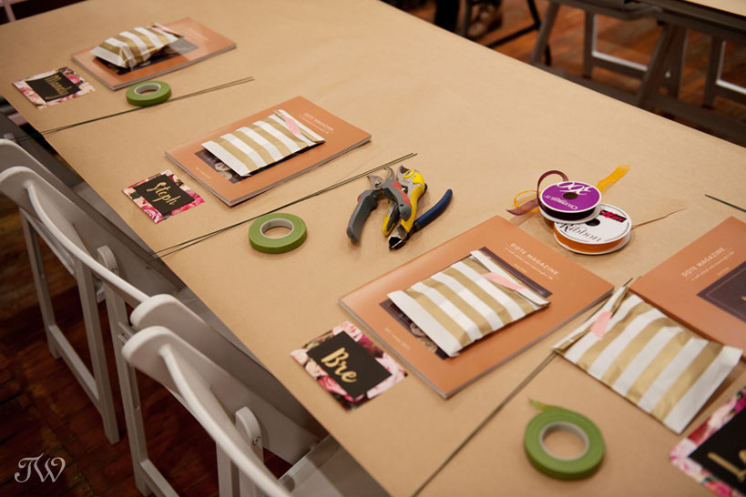 Place cards at flower crown workshop at Adorn captured by Tara Whittaker Photography