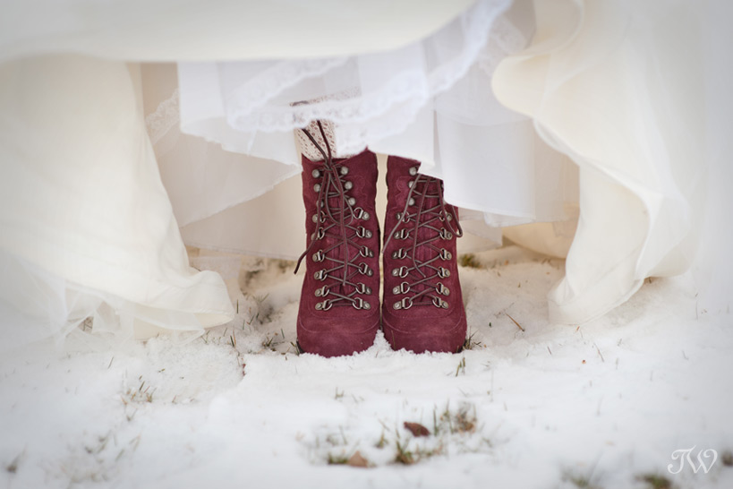 marsala boots as winter wedding shoes captured by Tara Whittaker Photography