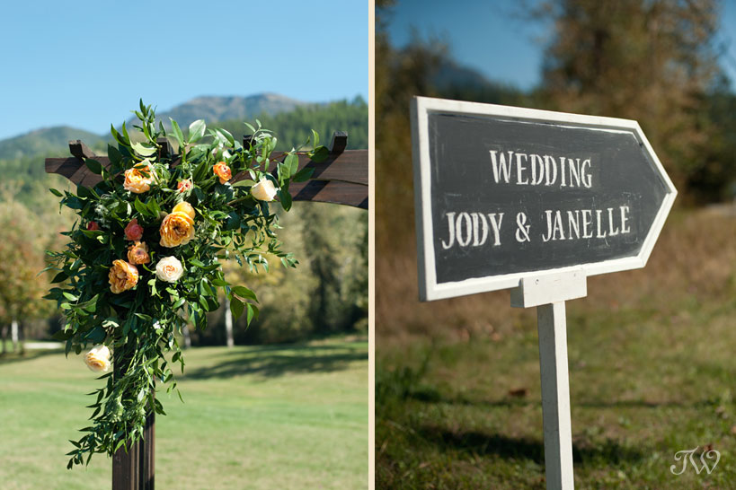 Flowers on a wedding arch captured by Tara Whittaker Photography