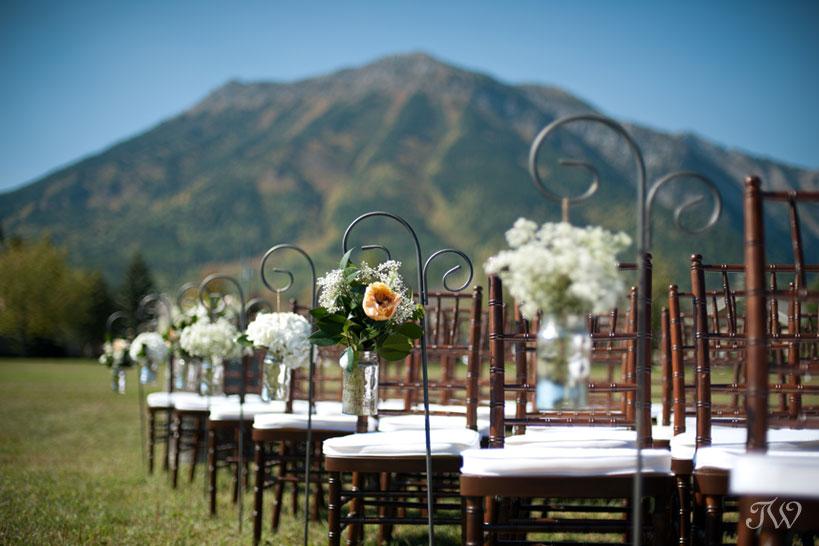 Wedding ceremony decor in Fernie BC captured by Tara Whittaker Photography
