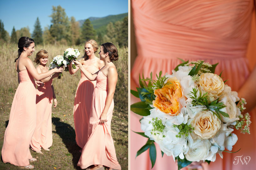 Bridesmaids in peach tones captured by Tara Whittaker Photography