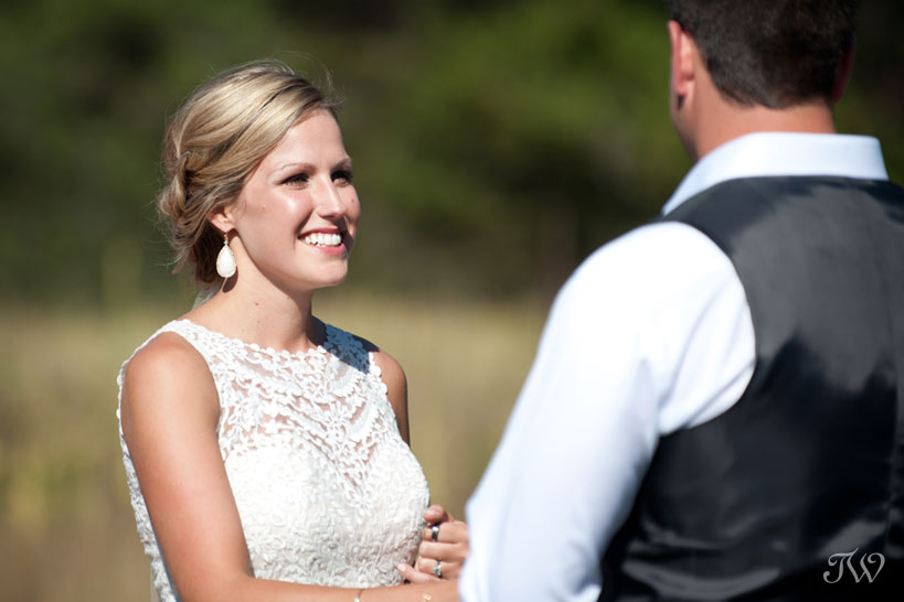 bride and groom say their wedding vows captured by Tara Whittaker Photography