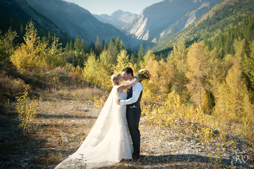 Bride and groom in the mountains near Fernie captured by Tara Whittaker Photography