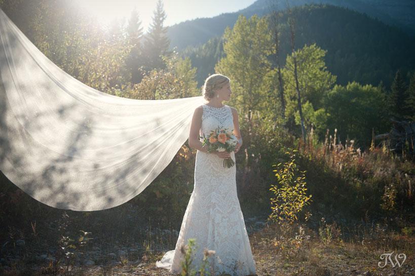 Bridal portrait by Fernie wedding photographer Tara Whittaker