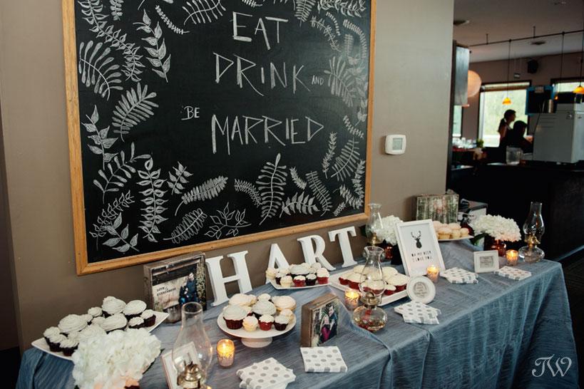 Dessert table arranged by wedding planner Mountain Bride captured by Tara Whittaker Photography