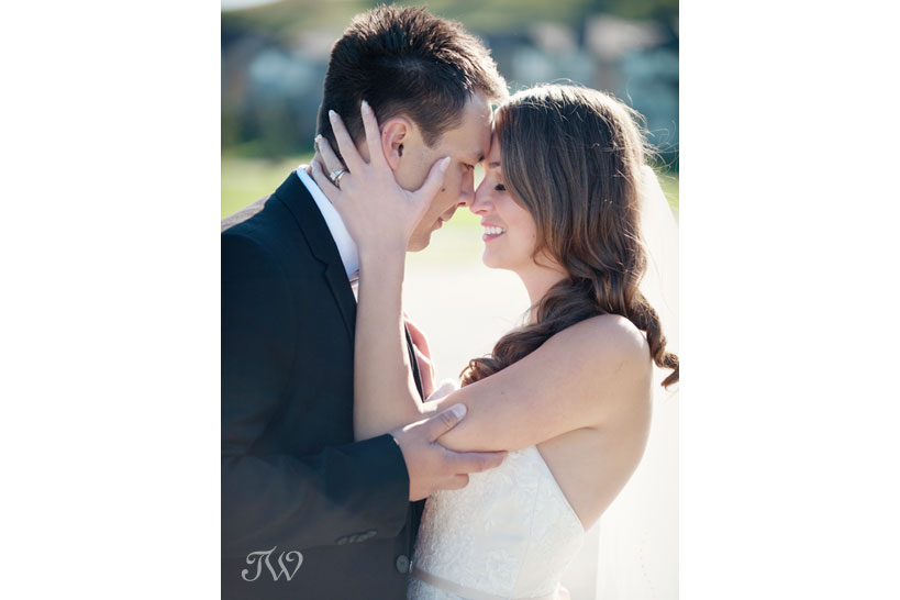 First kiss after a wedding ceremony captured by Blue Devil Golf Club wedding photographer