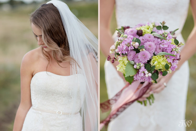 purple wedding bouquet from Flowers by Janie captured by Tara Whittaker Photography