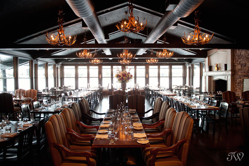 Main dining room at The Lake House captured by Calgary wedding photographer Tara Whittaker