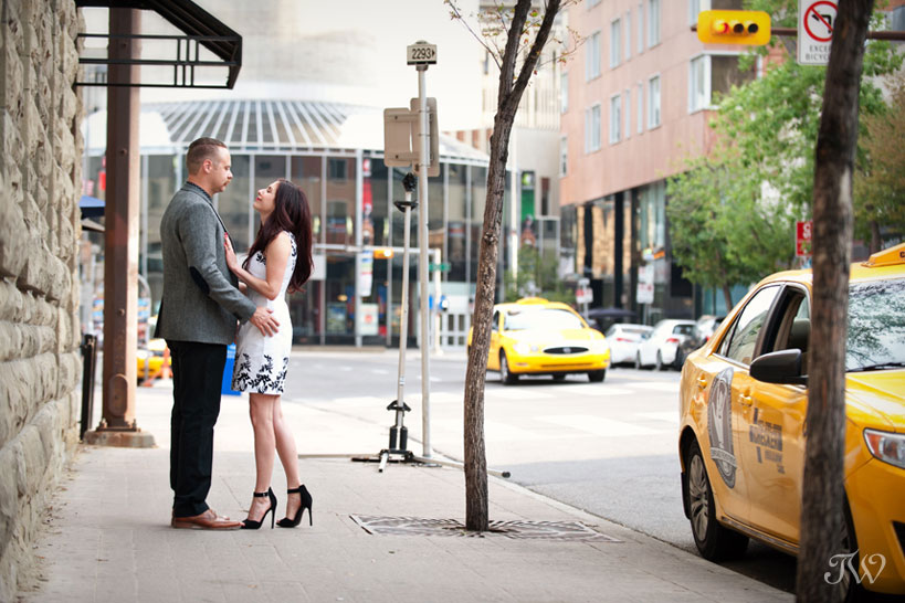 couple during their downtown Calgary engagement session with Tara Whittaker