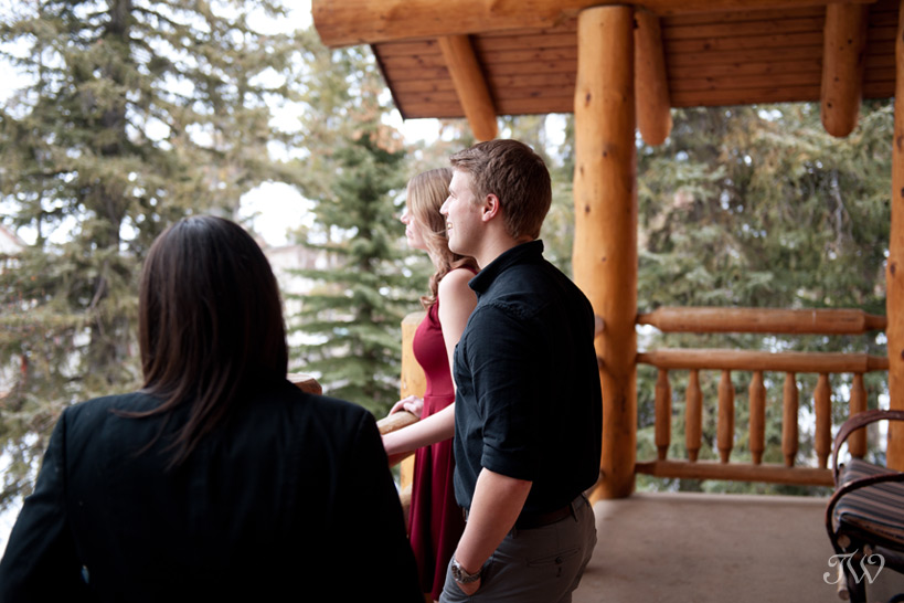 enjoying the views from the Wapiti Longhouse at Buffalo Mountain Lodge captured by Tara Whittaker Photography