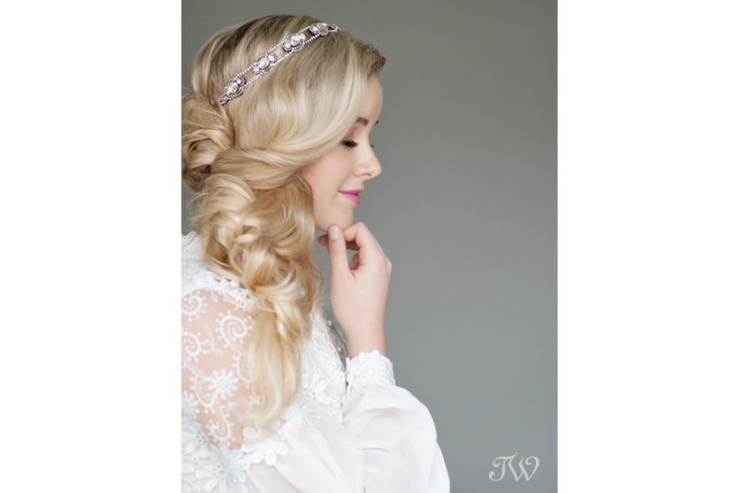 Romantic sideswept hair captured by Tara Whittaker Photography