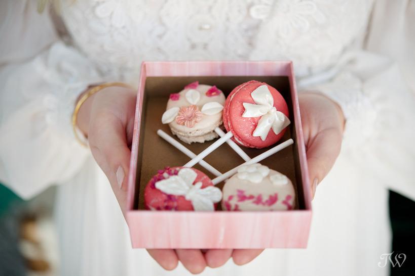 Macaron pops from Yann Haute Patisserie captured by Tara Whittaker Photography