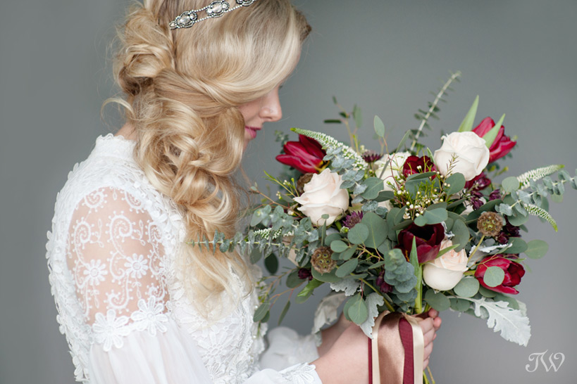 bridal bouquet from Sarah Mayerson Design captured by Calgary wedding photographer Tara Whittaker