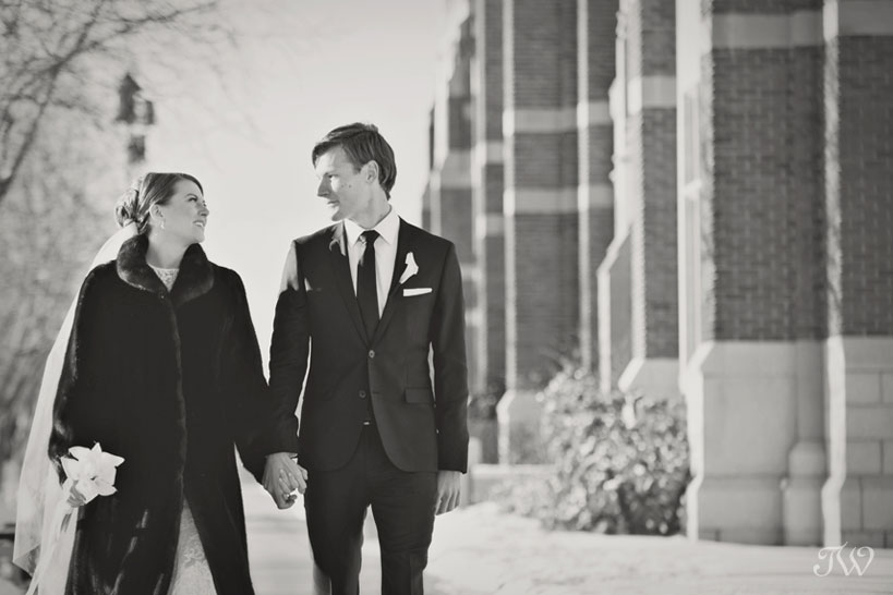 Bride and groom on SAIT campus captured by Tara Whittaker Photography