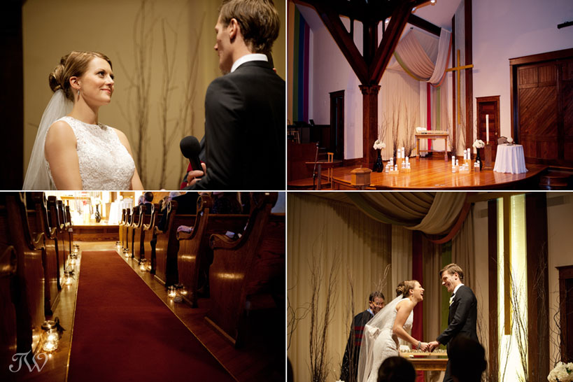 wedding ceremony at Hillhurst United Church captured by Tara Whittaker Photography